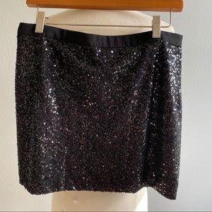 J Crew Factory Sequined Mini Skirt Black 8